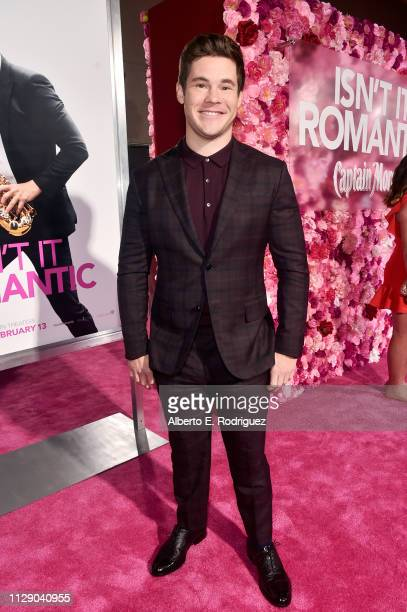 "Adam DeVine attends the premiere of Warner Bros. Pictures' ""Isn't It Romantic"" at The Theatre at Ace Hotel on February 11, 2019 in Los Angeles,..."