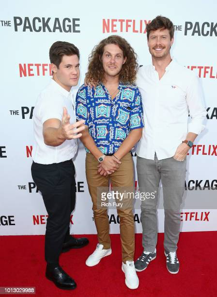 Adam DeVine Blake Anderson and Anders Holm attend the Los Angeles special screening after party For The Netflix Film The Package at El Cid on August...