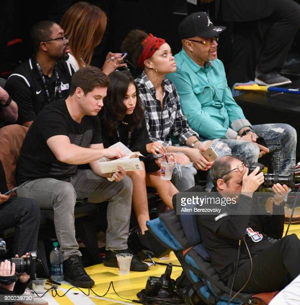 Adam DeVine Chloe Bridges and Andra Day attend the NBA AllStar Game 2018 at Staples Center on February 18 2018 in Los Angeles California