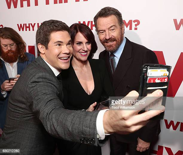 Adam Devine Megan Mullally and Bryan Cranston take a selfie at the premiere Of 20th Century Fox's Why Him at Regency Bruin Theater on December 17...