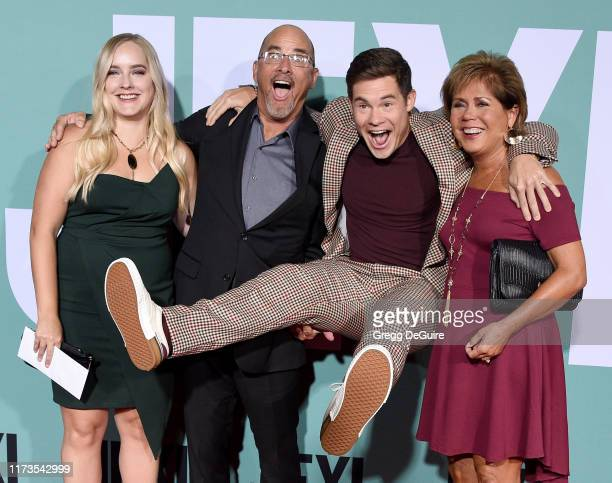 Adam DeVine parents Dennis DeVine and Penny DeVine and sister arrive at the Premiere Of Lionsgate's Jexi at Fox Bruin Theatre on October 3 2019 in...