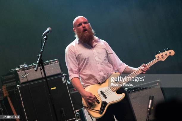 Adam Devonshire of Idles performs on stage at Usher Hall on June 14 2018 in Edinburgh Scotland