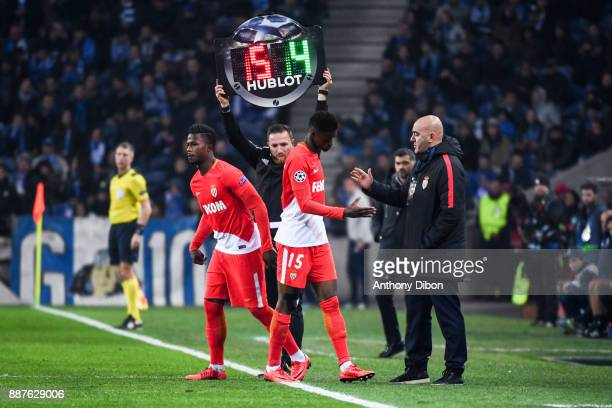 Adam Diakhaby of Monaco is replaced by Keita Balde of Monaco during the Uefa Champions League match between Fc Porto and As Monaco at Estadio do...