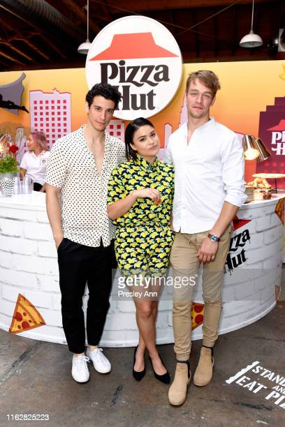 Adam DiMarco Devery Jacobs and Thomas Elms of 'The Order' attend the Pizza Hut Lounge at 2019 ComicCon International San Diego on July 18 2019 in San...