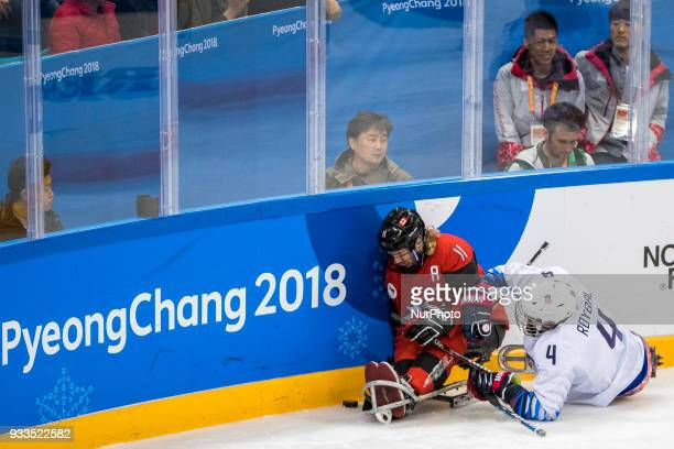 Adam DIXON and Brody ROYBAL during The Ice Hockey gold medal game between Canada and United States during day nine of the PyeongChang 2018 Paralympic...