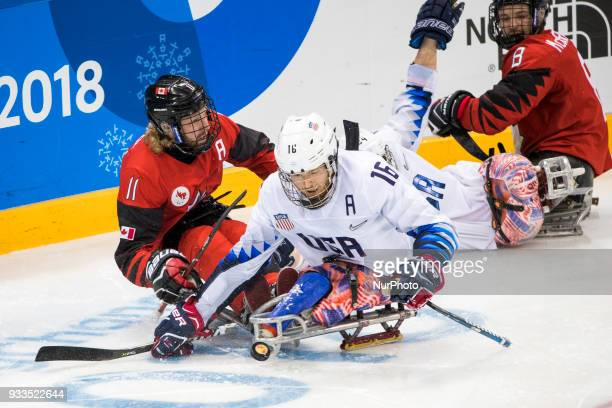 Adam DIXON and Declan FARMER during The Ice Hockey gold medal game between Canada and United States during day nine of the PyeongChang 2018...