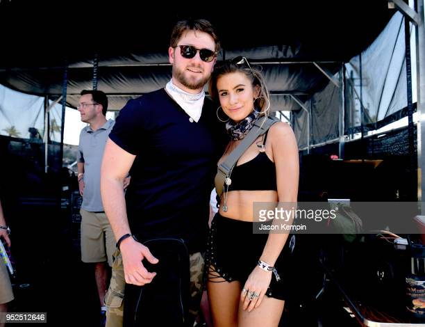 Adam Doleac and Kassi Ashton pose backstage during 2018 Stagecoach California's Country Music Festival at the Empire Polo Field on April 28 2018 in...