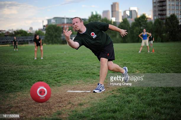Adam Dormth pitches during the opening game at City of Cuernavaca Park on Wednesday World Adult Kickball Association is opening day with 14 teams...