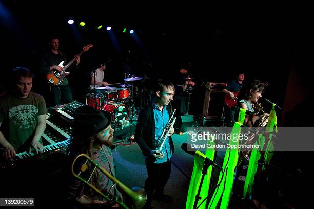 Adam Dotson Alex Toth Annakalmia Traver Adam Dotson Jordan Books Dave Cole Craig Myers and Ian Hersey perform with Rubblebucket at Asheville Music...