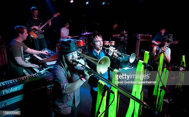Adam Dotson Alex Toth Annakalmia Traver Adam Dotson Jordan Books Dave Cole Craig Myers and Ian Hersey perform with Rubblebucket at the Asheville...