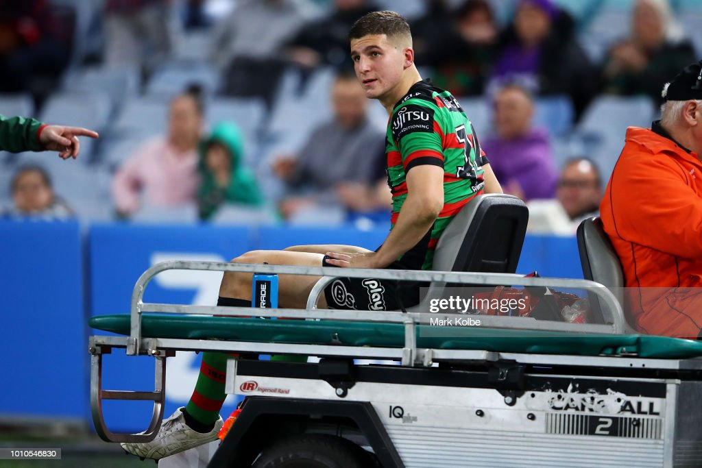 Adam Doueihi of the Rabbitohs leaves the field with an injury during the round 21 NRL match between the South Sydney Rabbitohs and the Melbourne Storm at ANZ Stadium on August 3, 2018 in Sydney, Australia.