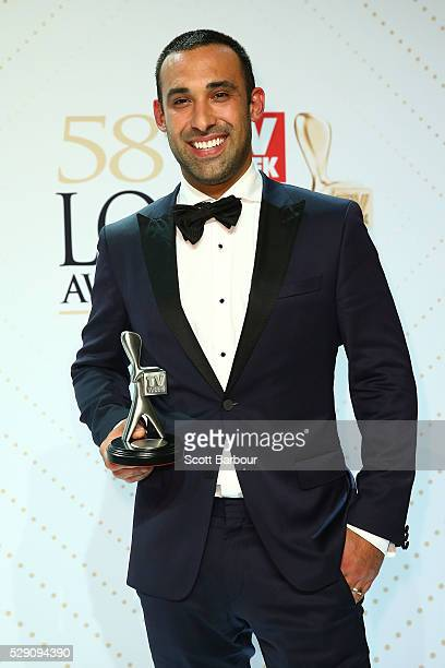 Adam Dovile poses with the Logie Award for Best New Talent 'Better Homes And Gardens' during the 58th Annual Logie Awards at Crown Palladium on May 8...