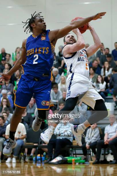 Adam Doyle of the NBL 1 All-Stars drives to the basket during the NBL Blitz pre-season match between Brisbane Bullets and NBL 1 All-Stars at...