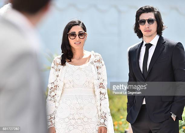 Adam Driver and Golshifteh Farahani attend the 'Paterson' photocall during the 69th annual Cannes Film Festival at the Palais des Festivals on May 16...