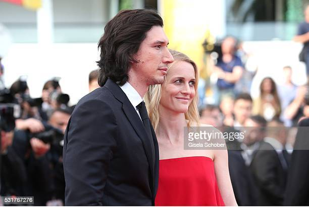 Adam Driver and his wife Joanne Tucker leavee the 'Paterson' premiere during the 69th annual Cannes Film Festival at the Palais des Festivals on May...