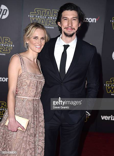 Adam Driver and Joanne Tucker arrives at the Premiere Of Walt Disney Pictures And Lucasfilm's Star Wars The Force Awakens on December 14 2015 in...