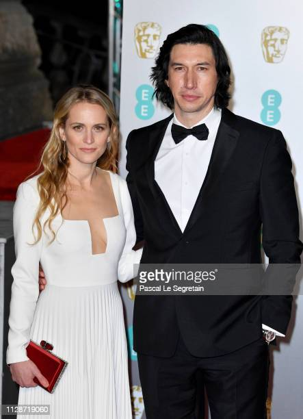 Adam Driver and Joanne Tucker attend the EE British Academy Film Awards at Royal Albert Hall on February 10 2019 in London England