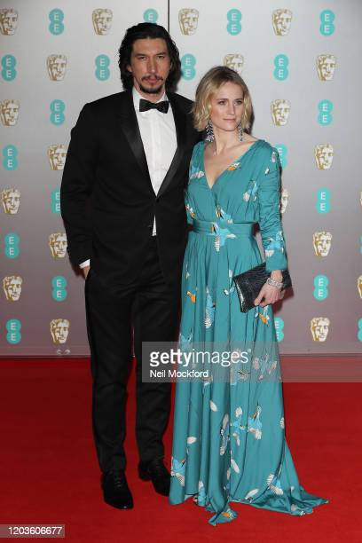 Adam Driver and Joanne Tucker attend the EE British Academy Film Awards 2020 at Royal Albert Hall on February 02, 2020 in London, England.