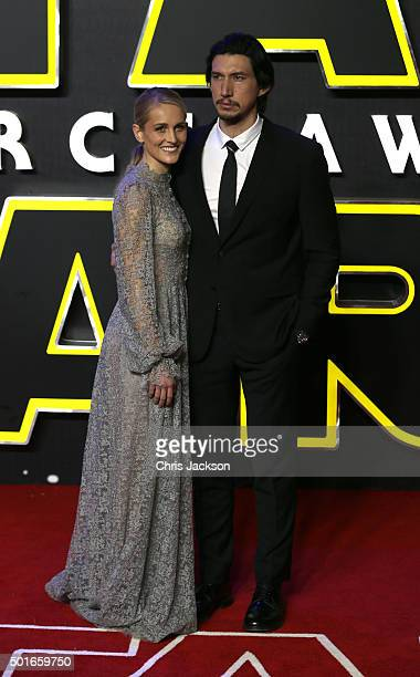 Adam Driver and Joanne Tucker attend the European Premiere of Star Wars The Force Awakens at Leicester Square on December 16 2015 in London England