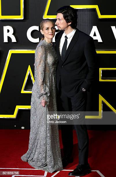 Adam Driver and Joanne Tucker attend the European Premiere of 'Star Wars The Force Awakens' at Leicester Square on December 16 2015 in London England