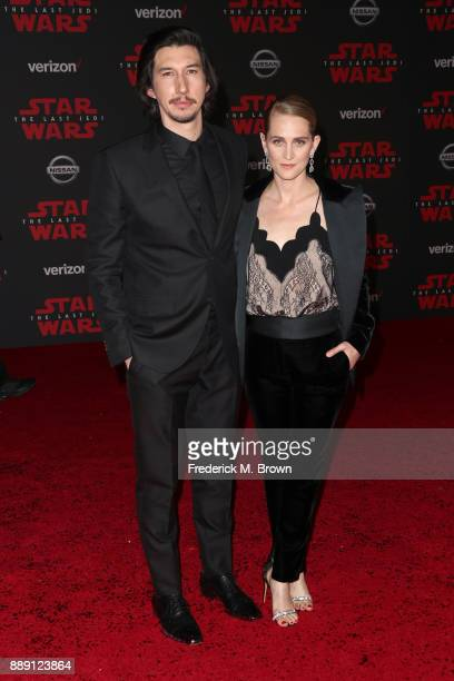 Adam Driver and Joanne Tucker attend the premiere of Disney Pictures and Lucasfilm's 'Star Wars The Last Jedi' at The Shrine Auditorium on December 9...