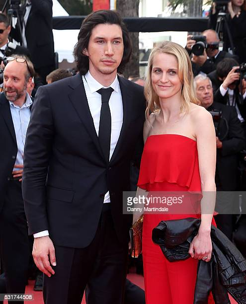 Adam Driver and Joanne Tucker depart after the 'Paterson' at the annual 69th Cannes Film Festival at Palais des Festivals on May 16 2016 in Cannes...