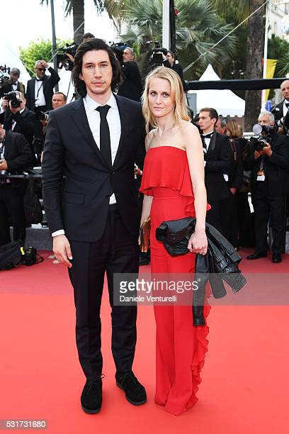 Adam Driver and Joanne Tucker depart after the Paterson premiere during the 69th annual Cannes Film Festival at the Palais des Festivals on May 16...