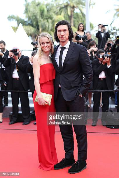 Adam Driver and Joanne Tucker depart after the 'Paterson' premiere during the 69th annual Cannes Film Festival at the Palais des Festivals on May 16...