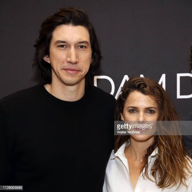 Adam Driver and Keri Russell attend the 'Burn This' cast photo call at the New 42nd Street Studios on March 7 2019 in New York City