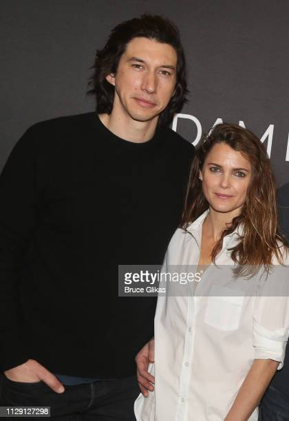 Adam Driver and Keri Russell pose at a photo call for the revival of the Lanford Wilson play Burn This at The New 42nd Street Studios on March 7 2019...