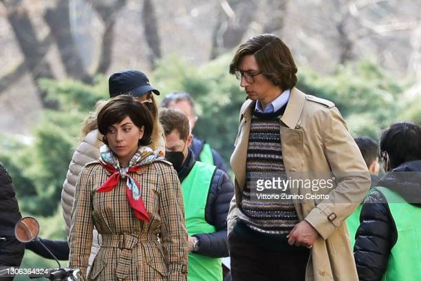 Adam Driver and Lady Gaga are seen filming 'House of Gucci' on March 10, 2021 in Milan, Italy.