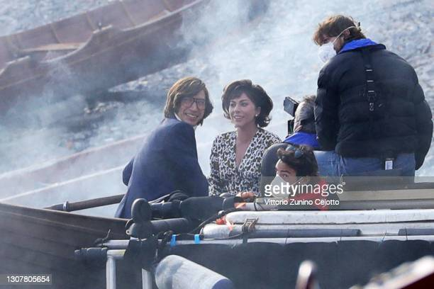 Adam Driver and Lady Gaga are seen filming 'House of Gucci' on March 18, 2021 in Como, Italy.