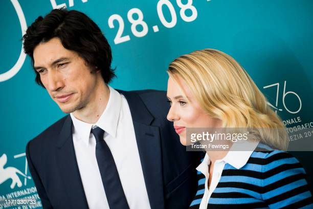 Adam Driver and Scarlett Johansson attend Marriage Story photocall during the 76th Venice Film Festival at Sala Grande on August 29 2019 in Venice...