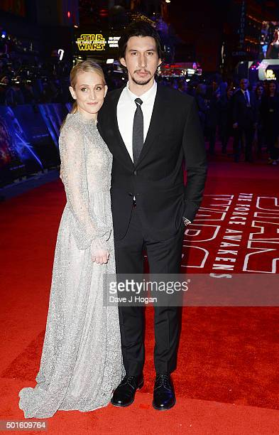 Adam Driver and wife Joanne Tucker attend the European Premiere of Star Wars The Force Awakens at Leicester Square on December 16 2015 in London...