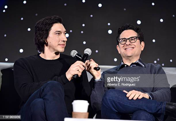 Adam Driver and Writer/director JJ Abrams participate in the global press conference for Star Wars The Rise of Skywalker at the Pasadena Convention...