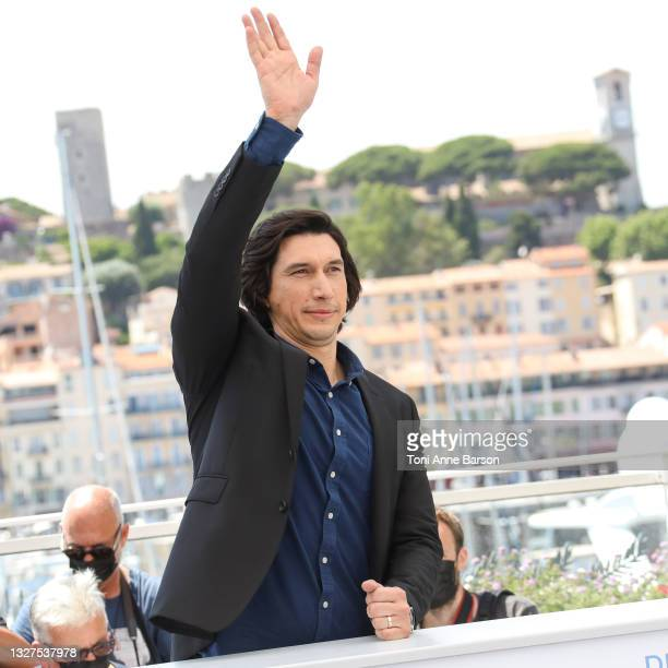 """Adam Driver attends the """"Annette"""" photocall during the 74th annual Cannes Film Festival on July 06, 2021 in Cannes, France."""