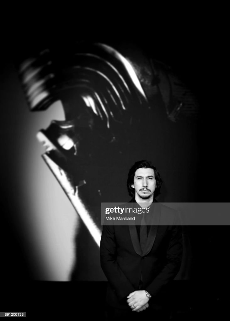Adam Driver attends the European Premiere of 'Star Wars: The Last Jedi' at Royal Albert Hall on December 12, 2017 in London, England.