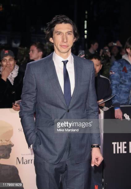 """Adam Driver attends the """"Marriage Story"""" UK Premiere during the 63rd BFI London Film Festival at the Odeon Luxe Leicester Square on October 06, 2019..."""