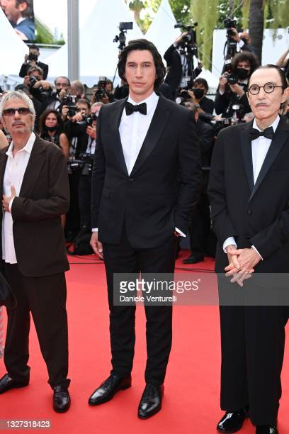 """Adam Driver, Director Leos Carax and Ron Mael attend the """"Annette"""" screening and opening ceremony during the 74th annual Cannes Film Festival on July..."""