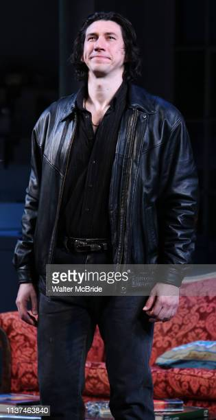 Adam Driver during the Broadway Opening Night Curtain Call for Landford Wilson's Burn This at Hudson Theatre on April 15 2019 in New York City
