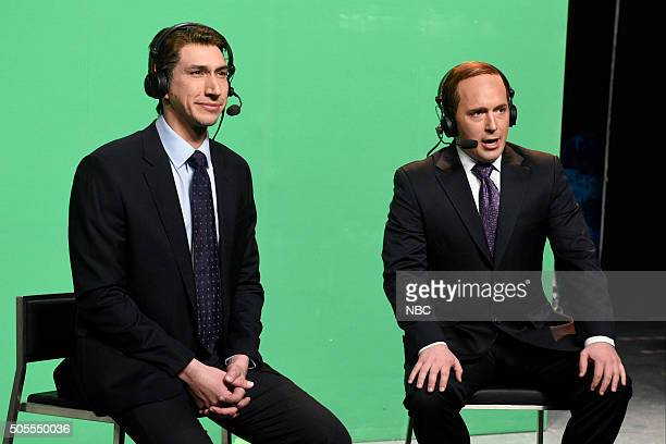 LIVE 'Adam Driver' Episode 1693 Pictured Adam Driver as Cris Collinsworth and Beck Bennett as Al Michaels during the 'NFL Playoff Game' sketch on...