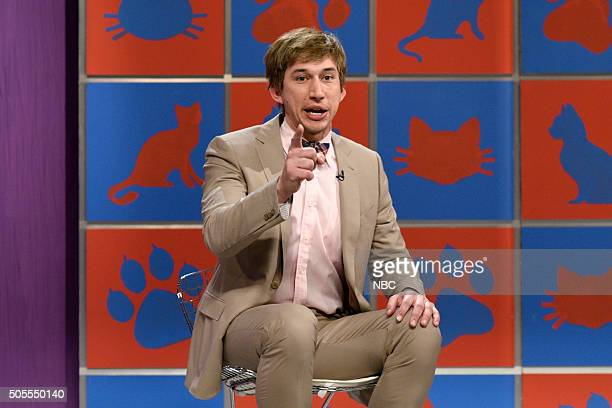 LIVE 'Adam Driver' Episode 1693 Pictured Adam Driver as Finn RaynalBeads during the 'America's Funniest Cats' sketch on January 16 2016