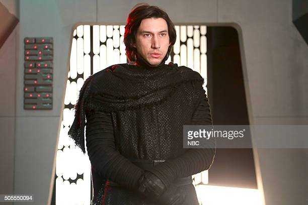 LIVE Adam Driver Episode 1693 Pictured Adam Driver as Kylo Ren uring the Undercover Boss Starkiller Base sketch on January 16 2016