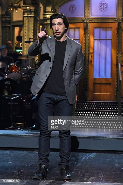 LIVE 'Adam Driver' Episode 1693 Pictured Adam Driver during the monologue on January 16 2016