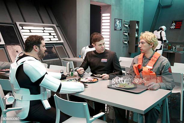 "Adam Driver"" Episode 1693 -- Pictured: Bobby Moynihan, Taran Killam, and Adam Driver as Kylo Ren during the ""Undercover Boss: Starkiller Base"" sketch..."
