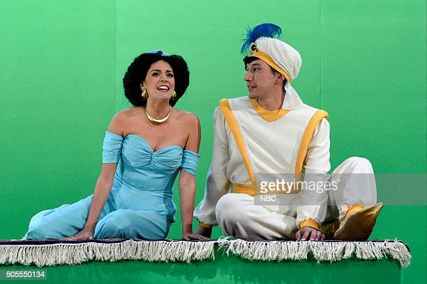 LIVE 'Adam Driver' Episode 1693 Pictured Cecily Strong as Princess Jasmine and Adam Driver as Aladdin during the 'Aladdin' sketch on January 16 2016