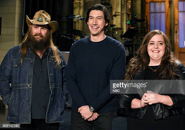 LIVE Adam Driver Episode 1693 Pictured Chris Stapleton Adam Driver and Aidy Bryant on January 14 2016