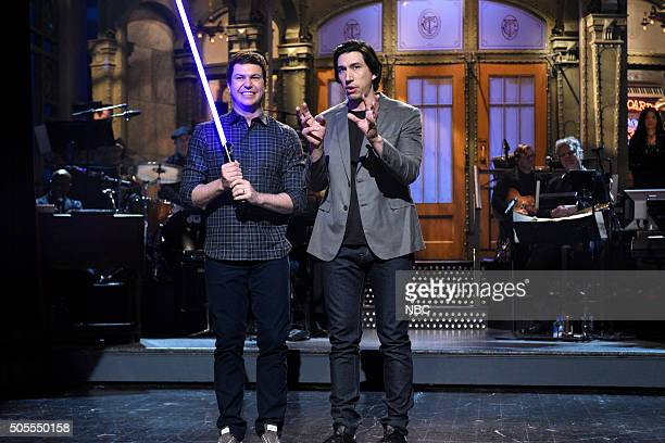 LIVE 'Adam Driver' Episode 1693 Pictured Taran Killam and Adam Driver during the monologue on January 16 2016