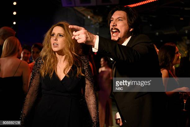 LIVE 'Adam Driver' Episode 1693 Pictured Vanessa Bayer and Adam Driver during the 'Golden Globes' sketch on January 16 2016