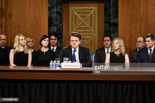 LIVE Adam Driver Episode 1747 Pictured Matt Damon as Judge Brett Kavanaugh during Kavanaugh Hearing Cold Open in Studio 8H on Saturday September 29...